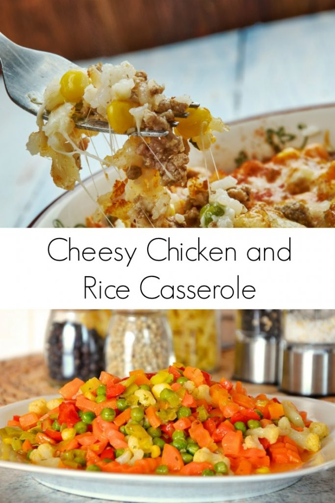 Cheesy Chicken and Rice Casserole with Mixed Veggies
