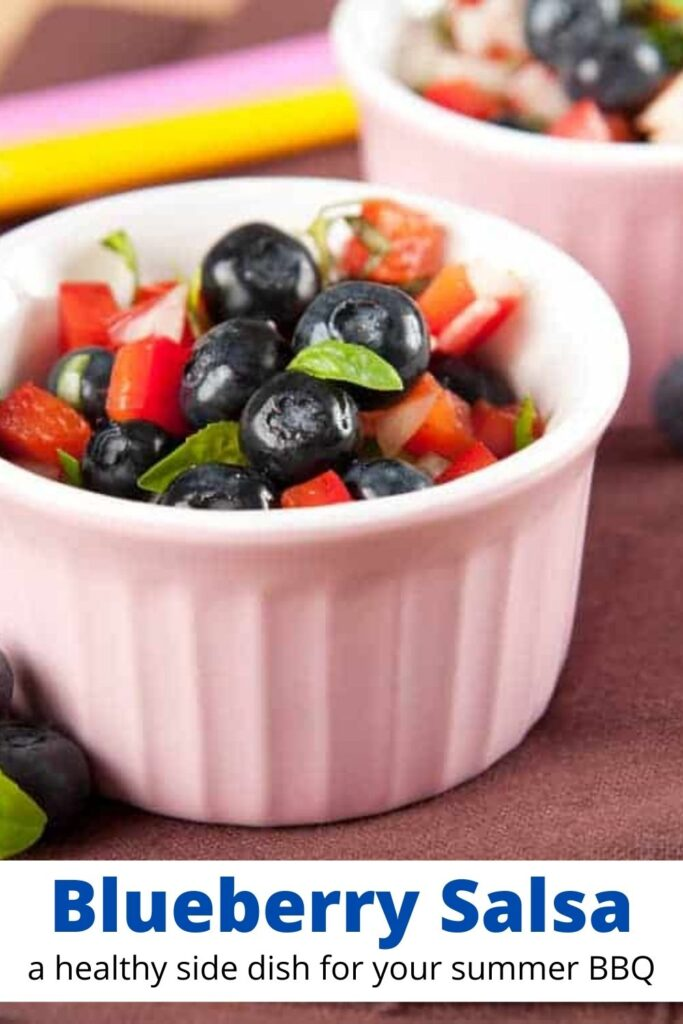 blueberry salsa in small white bowl