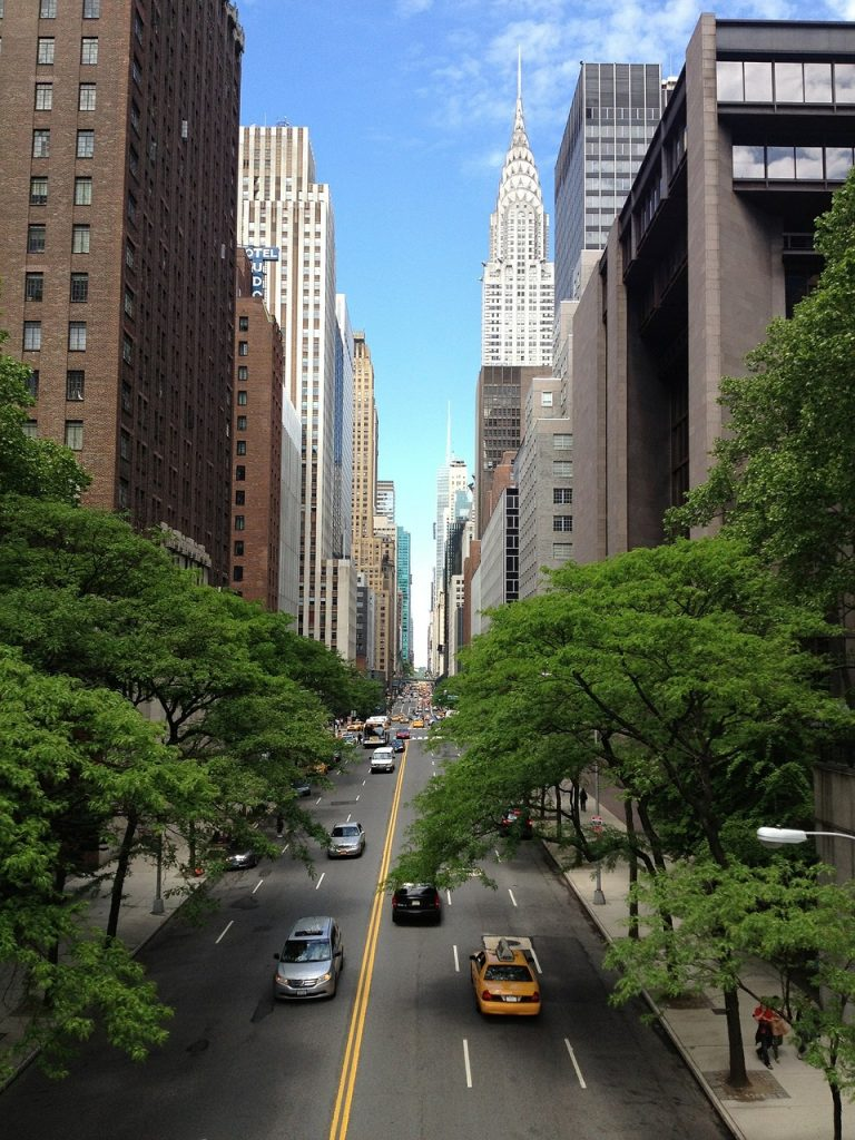 chrysler building and road for traveling