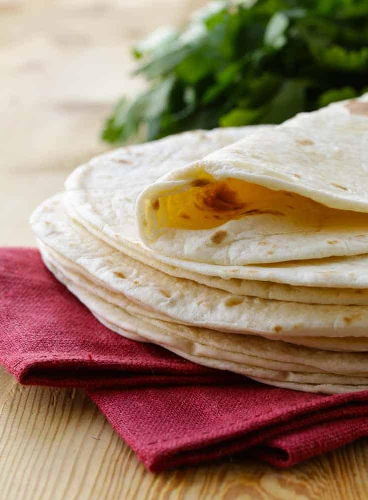 flour tortillas on napkin