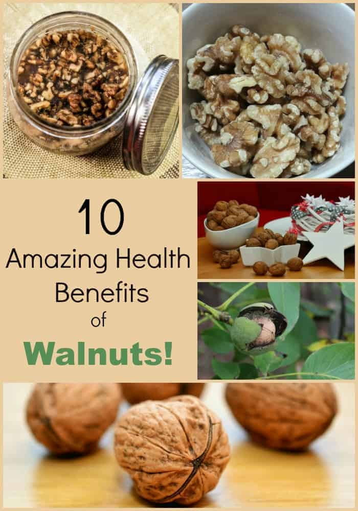 collage of fresh walnuts and text '10 amazing health benefits of walnuts'