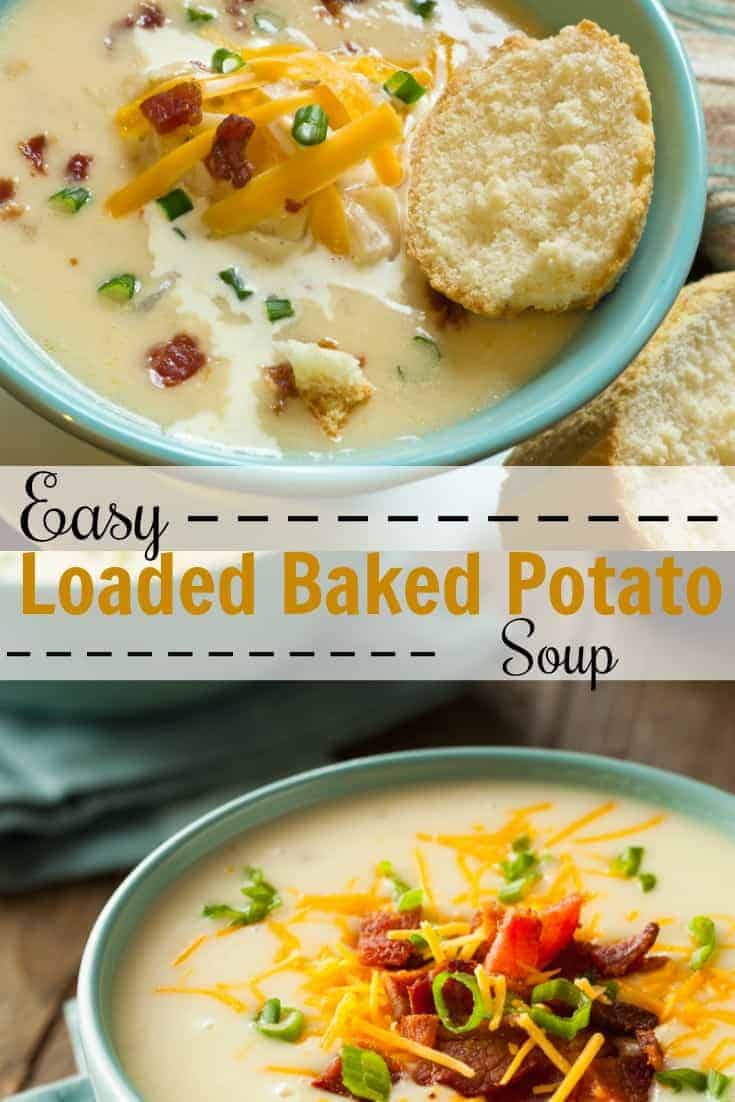 Love baked potatoes loaded with cheese, bacon, and green onions? This easy loaded baked potato soup recipe will hit the spot.