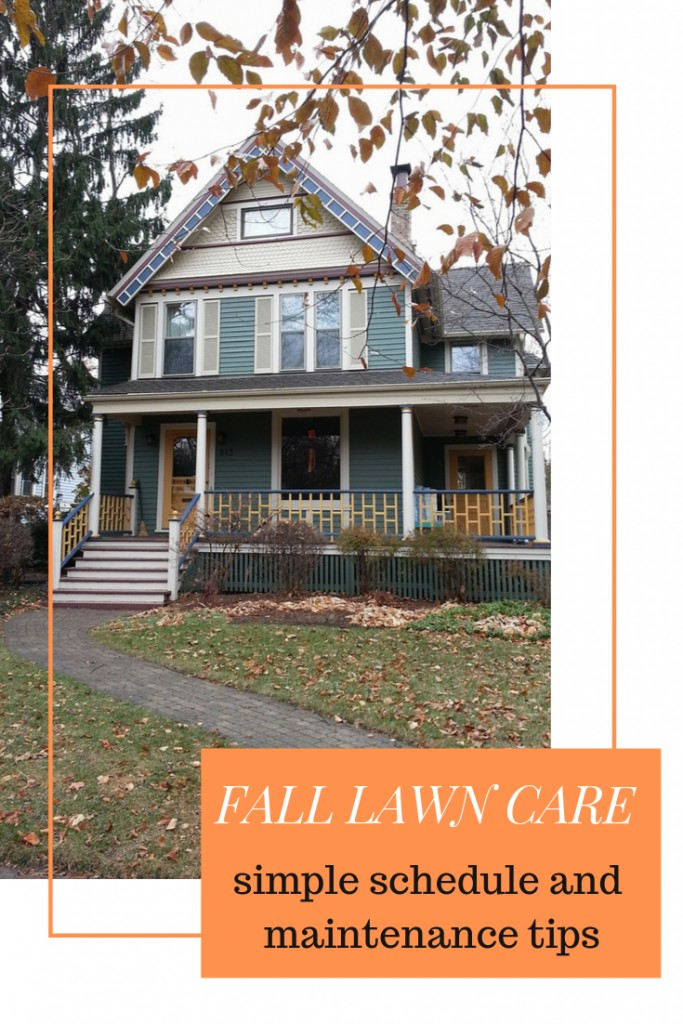 House with lawn and leaves with text 'Fall Yard Tips for a Healthy Lawn'