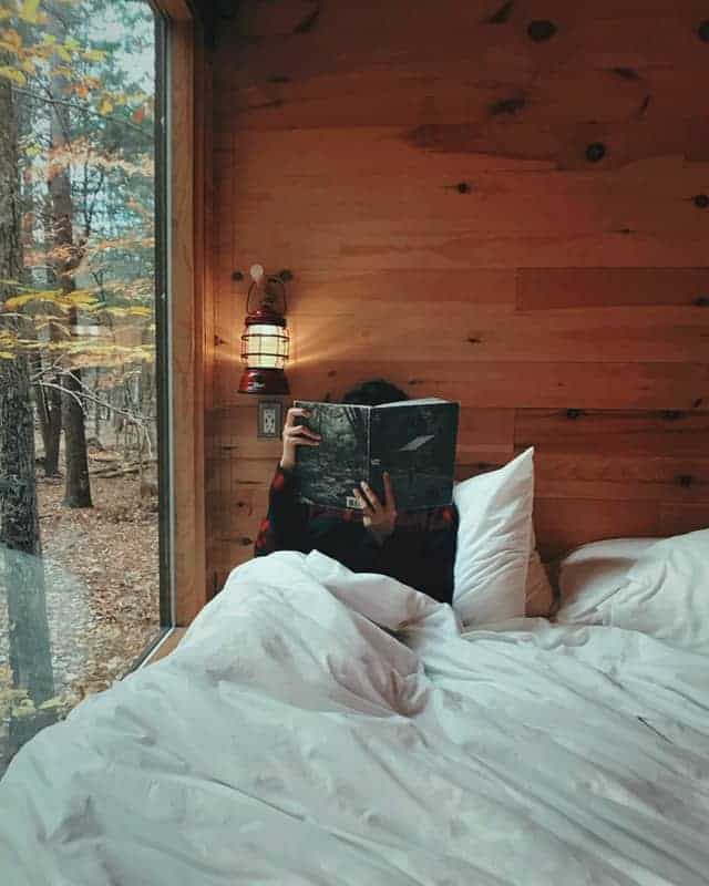 person in bed reading