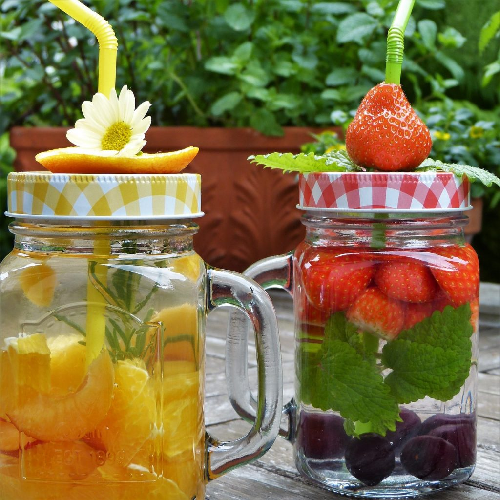 mason jars filled with fruit