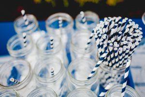 paper straws and glass mason jars