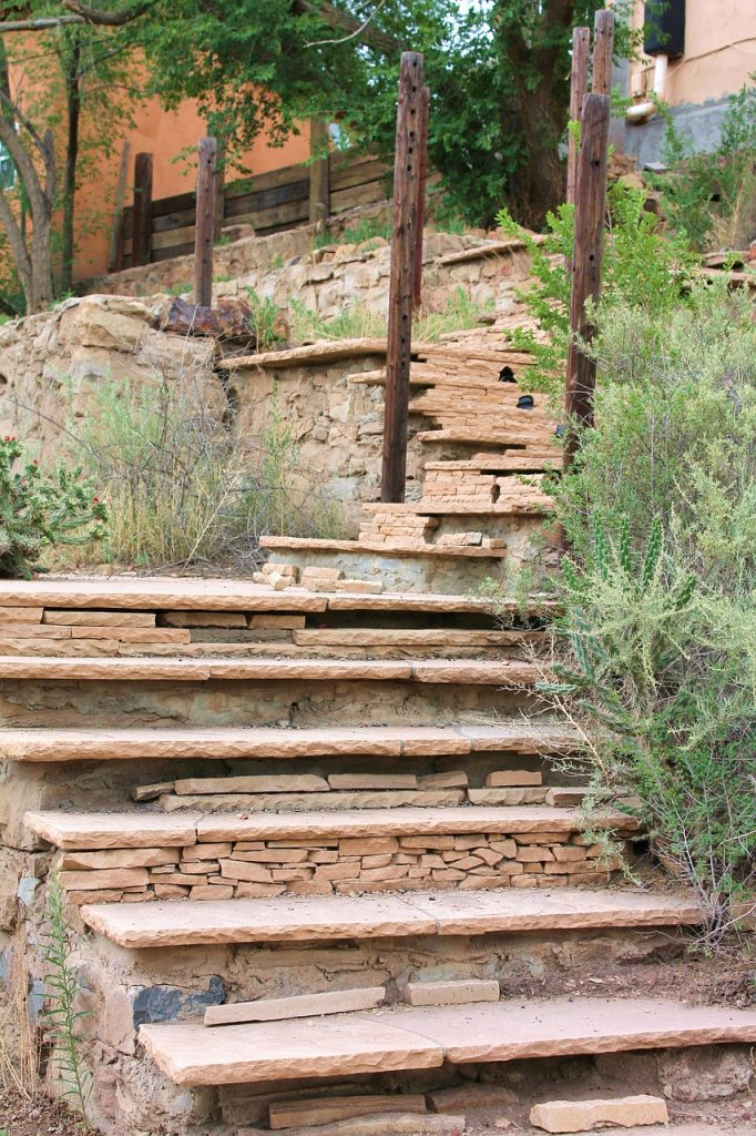 outdoor stairs with native plants