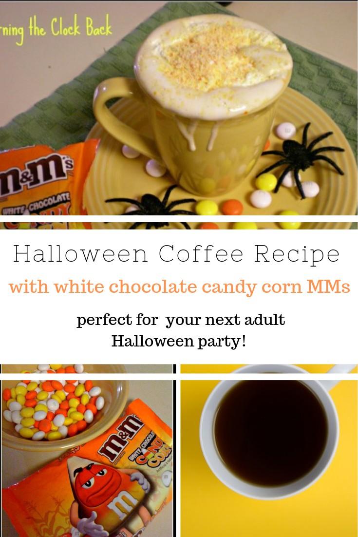 Halloween Coffee Recipe with White Chocolate Candy Corn MMs