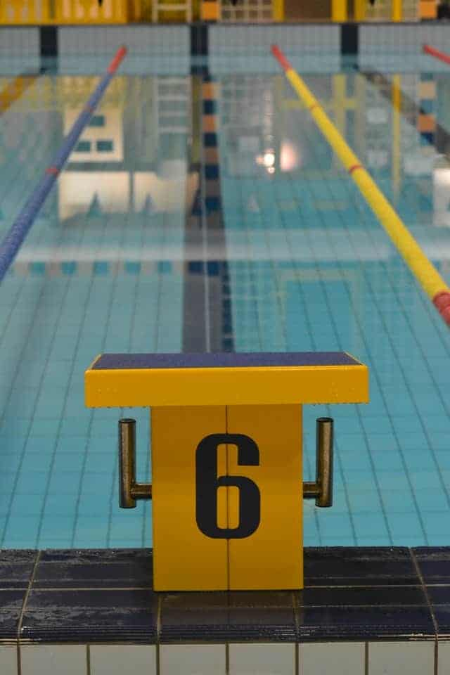 starting block in olympic swimming pool
