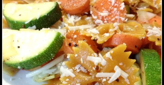 Barilla Pasta #recipe and feeding the hungry: Farfalle with Zucchini, Carrots, Fennel, Marjoram & Parmigiano Cheese