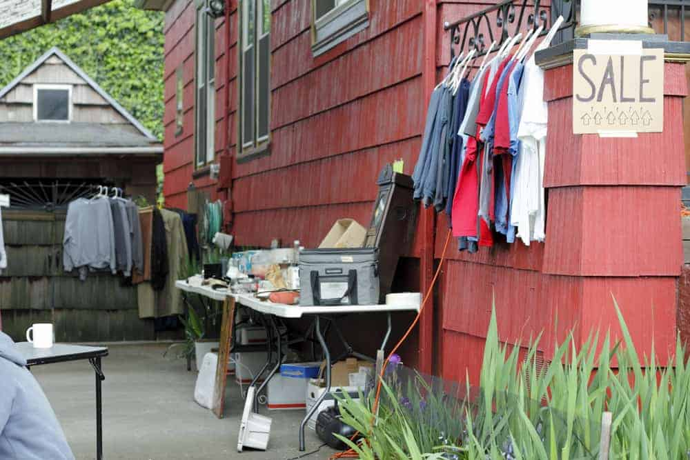 Clothes and Other Items for Sale at garage sale