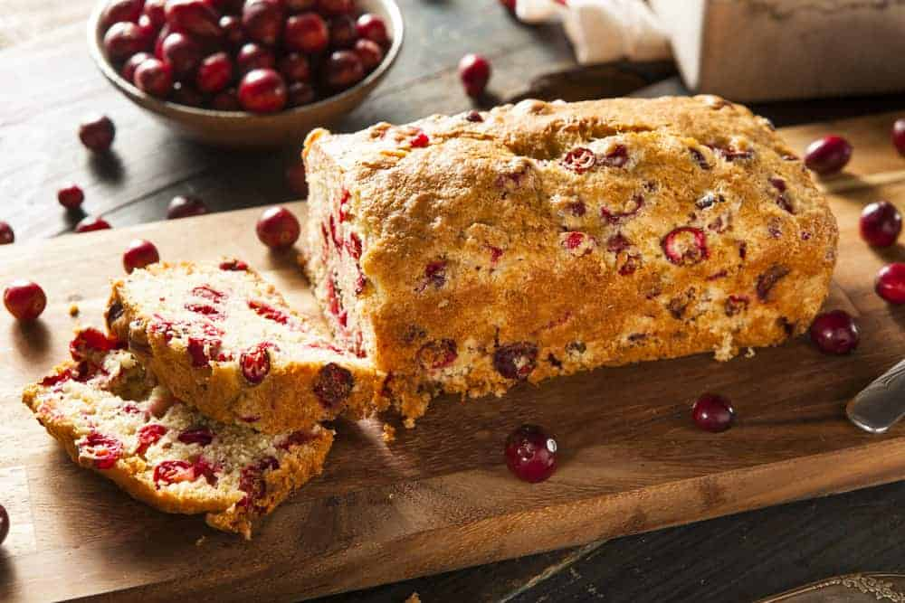 Homemade Festive Cranberry Bread with Fresh Berries