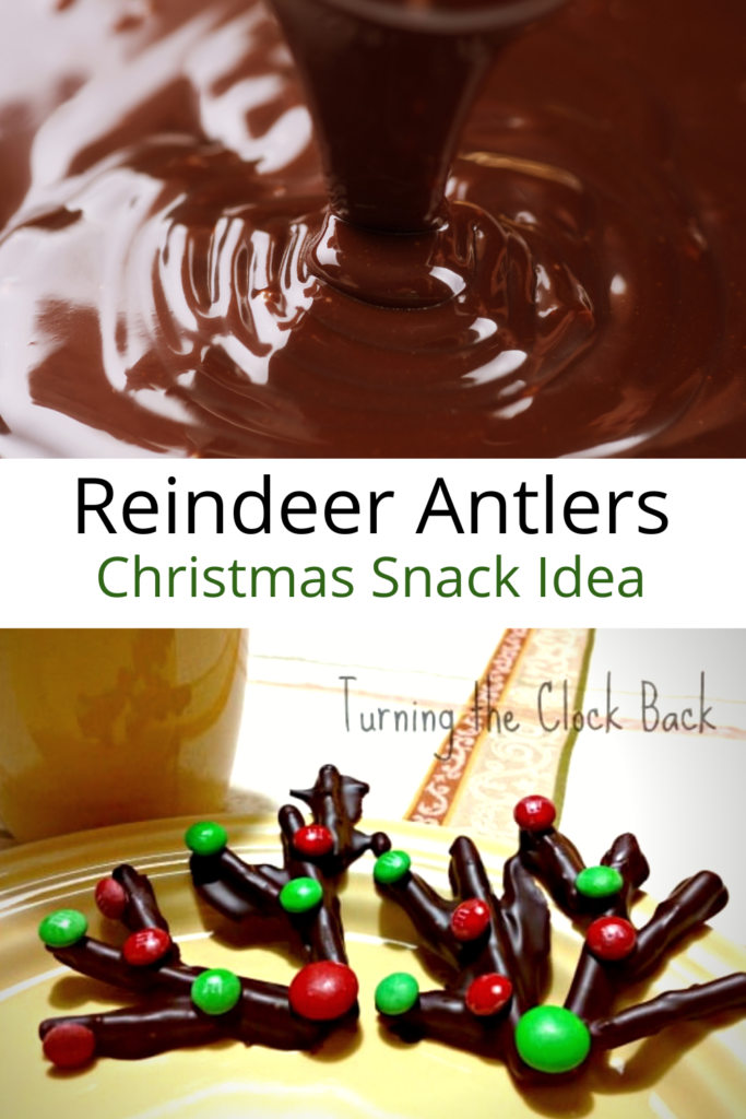 Reindeer Antlers Christmas Snacks collage with melted chocolate