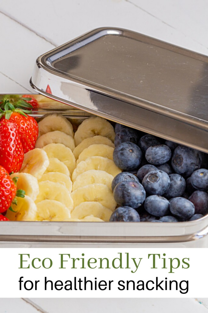 small pieces of fruit in a metal tin to indicate green snack routine