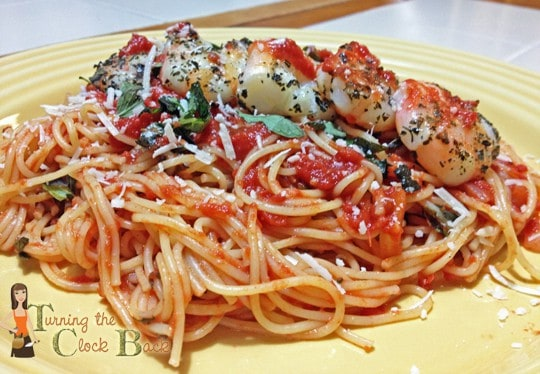 pasta pomodoro with grilled shrimp and classico