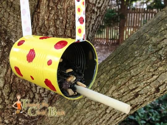 earth day craft tin can bird feeder