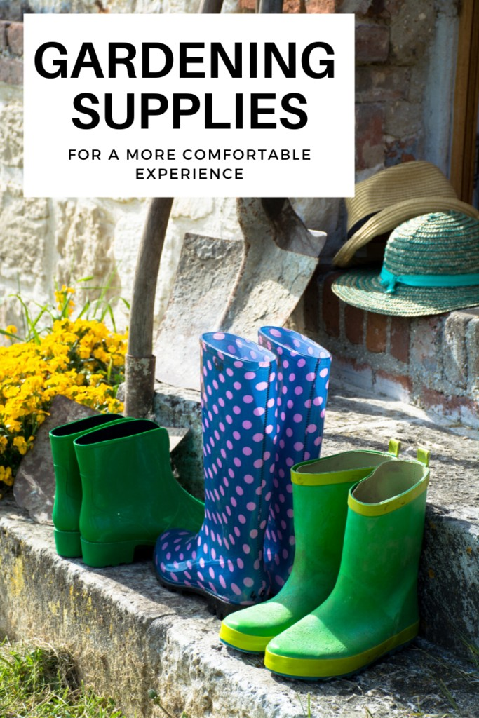 gardening shoes and hats on an outdoor step