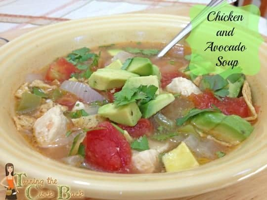 chicken and avocado soup with banner