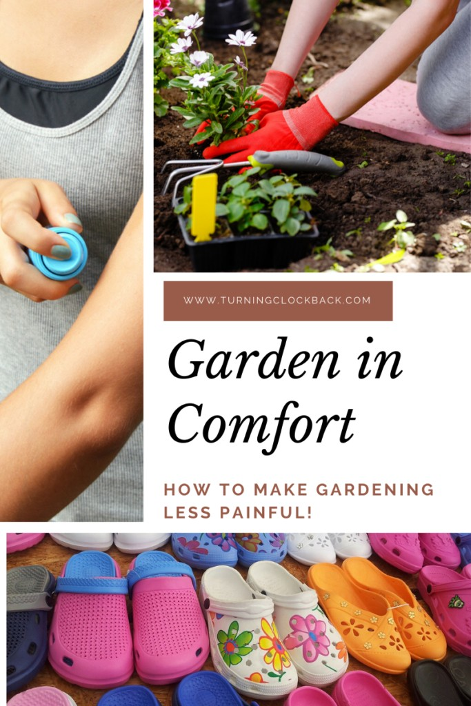 collage of garden supplies and text 'garden in comfort'
