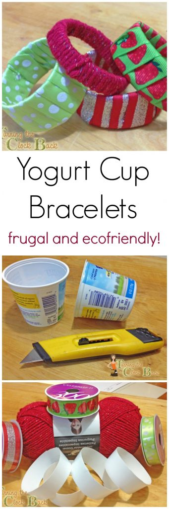 Need Eco Friendly Crafts? Make Yogurt Cup Bracelets!