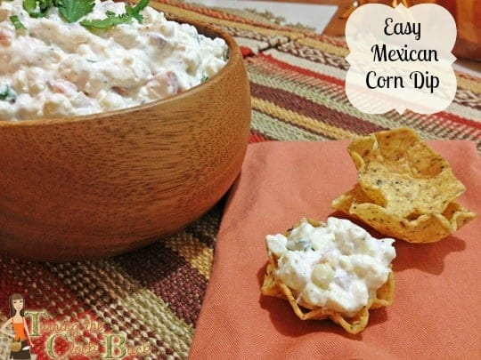easy mexican corn dip with banner