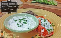Cucumber mint sauce with salmon and banner