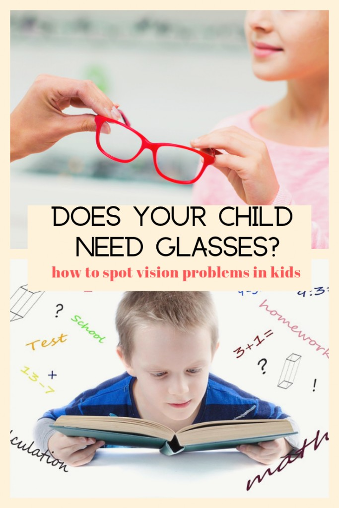 one child reading and another getting glasses with text 'how to spot vision problems in kids'