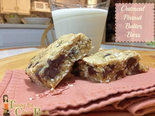 oatmeal peanut butter bars with banner