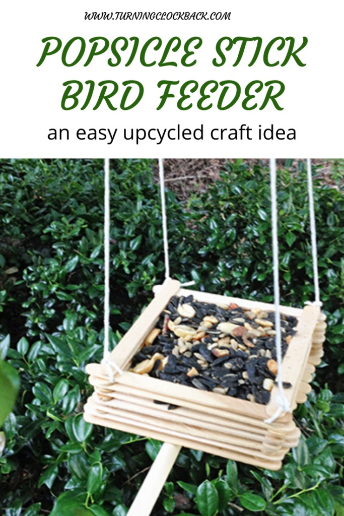 Upcycled craft bird feeder from popsicle sticks