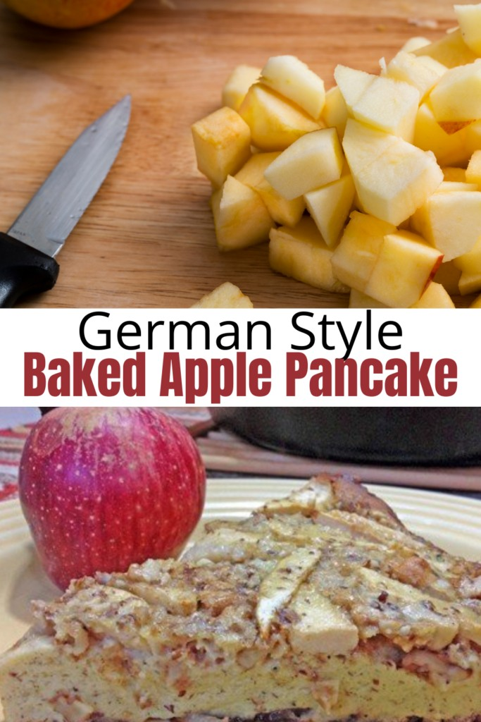 collage of chopped apples and apple pancake on plate
