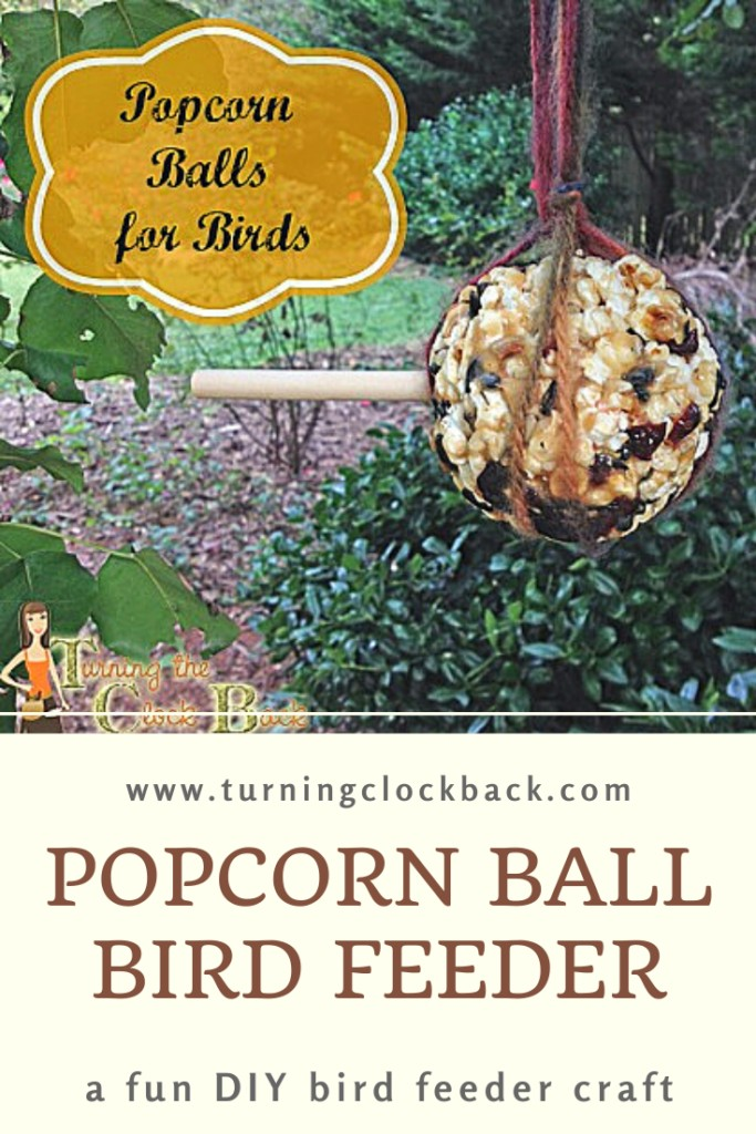 Popcorn Ball Bird Feeder hanging from a tree