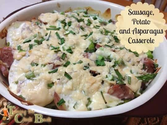 sausage, potato and asparagus casserole recipe with banner