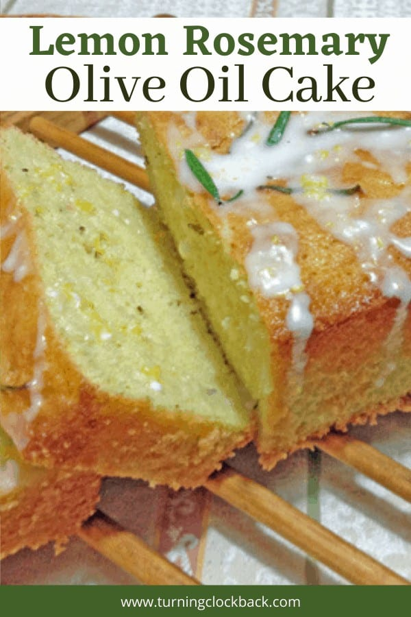 Homemade olive oil cake with lemons and rosemary.