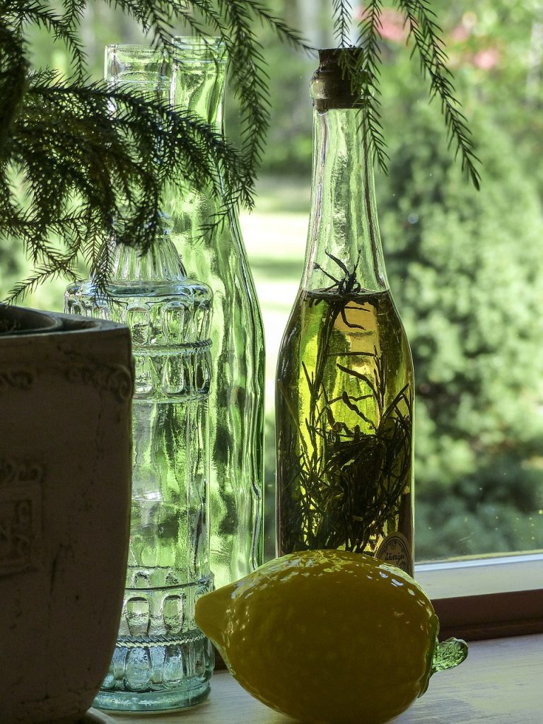 Bottle of rosemary infused olive oil