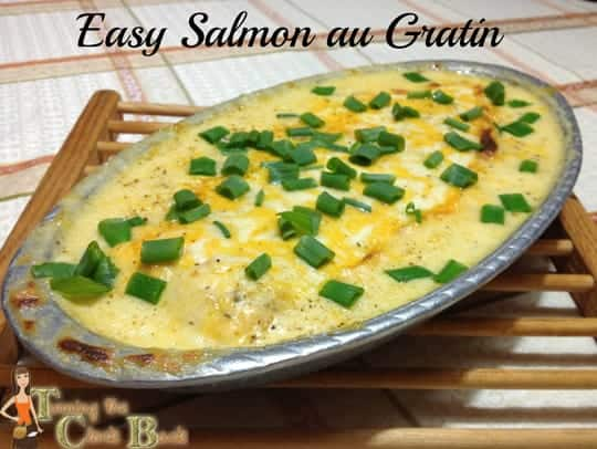 easy salmon au gratin with banner