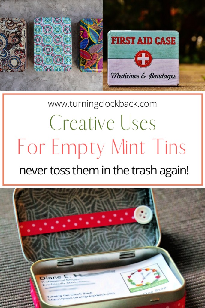 Mint tin craft collage and text 'Creative Uses for Empty Mint Tins'