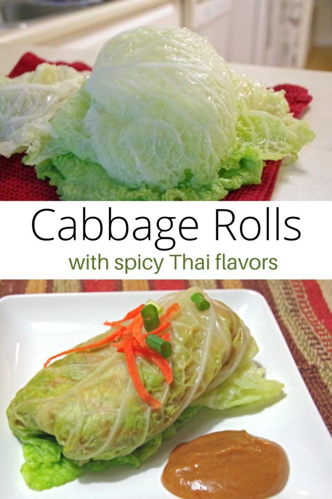 collage of fresh cabbage and cabbage rolls with dipping sauce