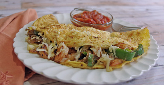Shrimp Fajita Omelette Recipe #15MinuteSuppers
