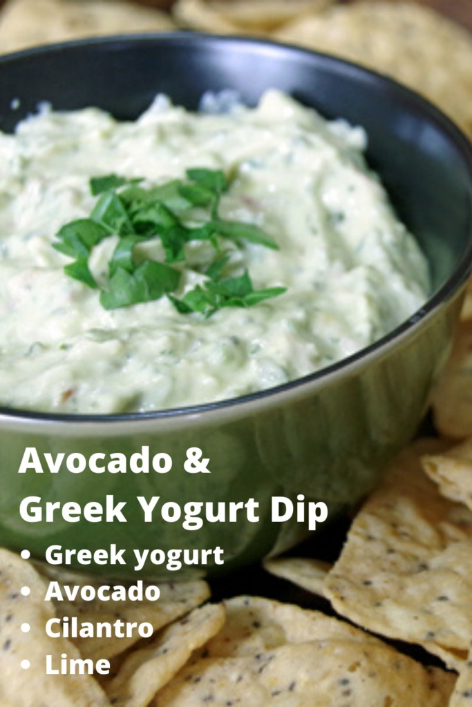 Avocado & Greek Yogurt Dip Recipe with cilantro, jalapeno and lime