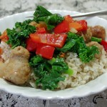 Easy Kale Recipe:  Sausage and Kale Saute with Brown Rice