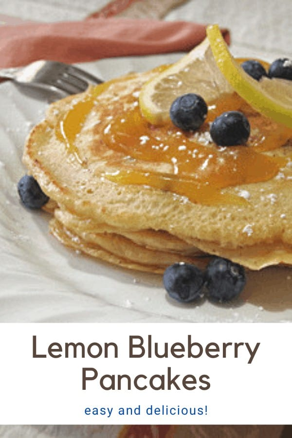 lemon blueberry pancakes on a white plate