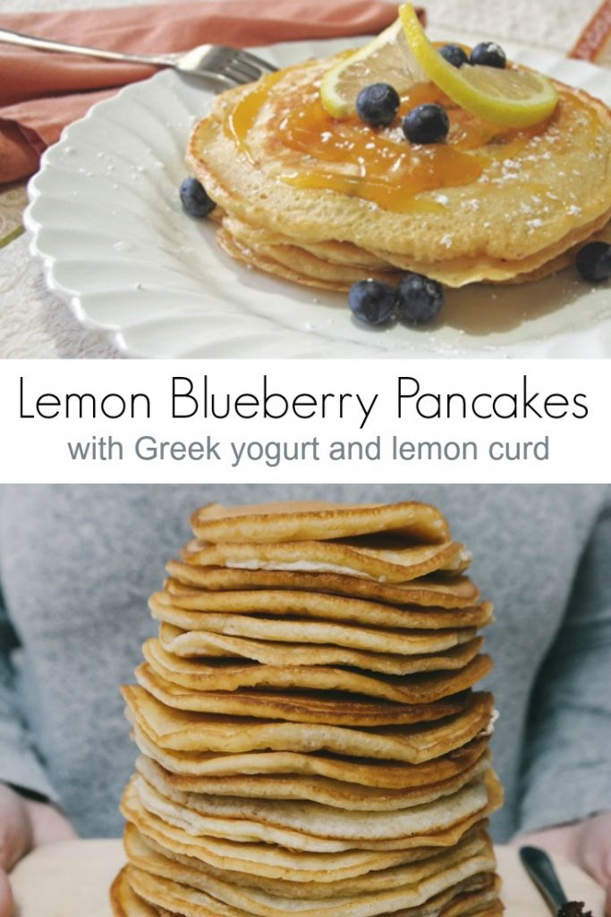 Lemon Blueberry Pancake Recipe with Greek Yogurt and Lemon Curd