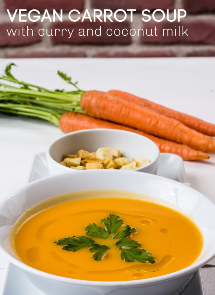 Creamy Vegan Carrot Soup with curry and coconut milk