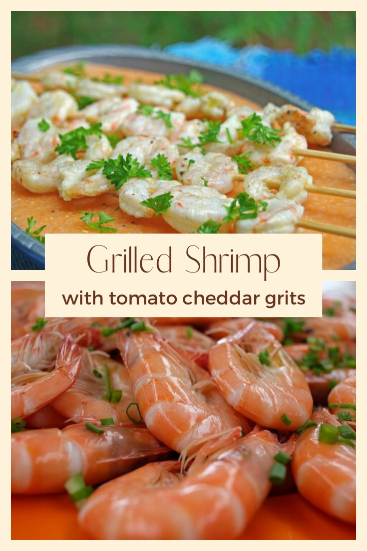 Grilled shrimp with tomato cheddar grits