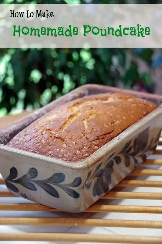 Homemade pound cake in a loaf pan
