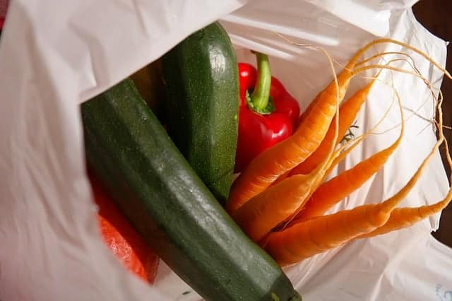 shopping bag with zucchini carrots and peppers