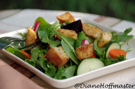 homemade croutons in salad