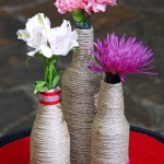 Upcycled Craft Ideas:  Twine Wrapped Bottle Centerpiece