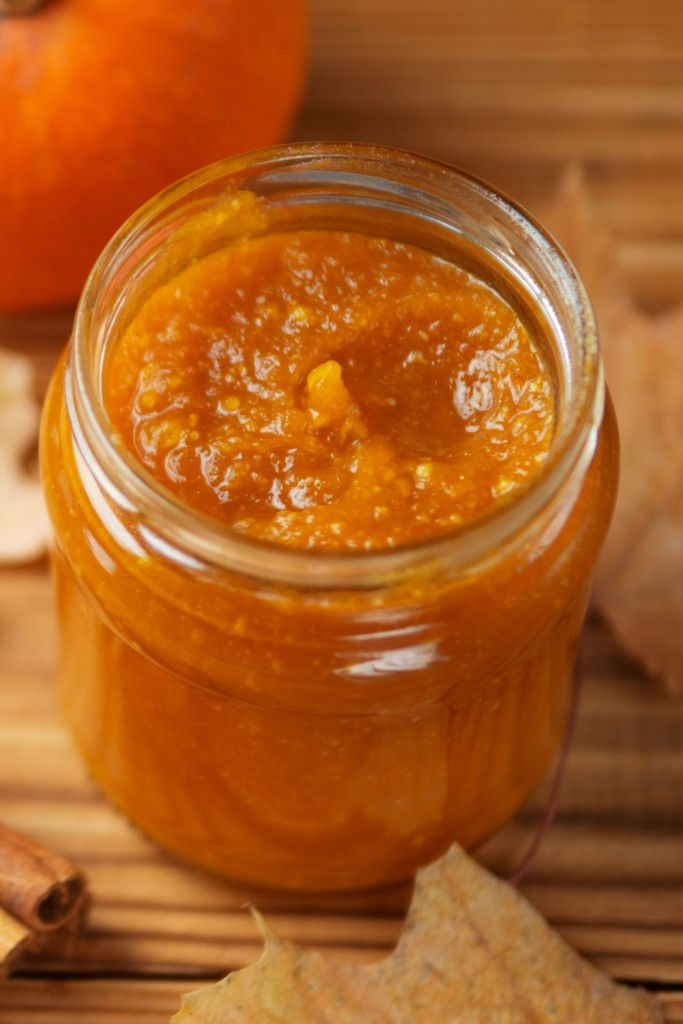 pumpkin puree in a glass jar