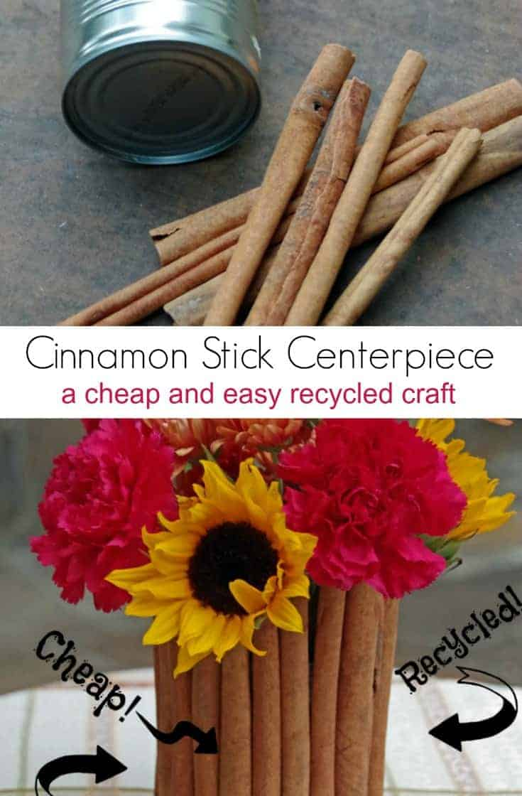 Looking for sustainable and affordable holiday decor?  Make it yourself! This Cinnamon Stick Centerpiece makes a Cheap and Easy Recycled Craft